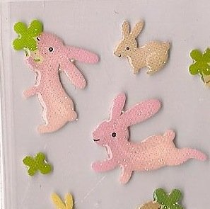 ARK ROAD Pink Bunnies with Clover Sticker Set