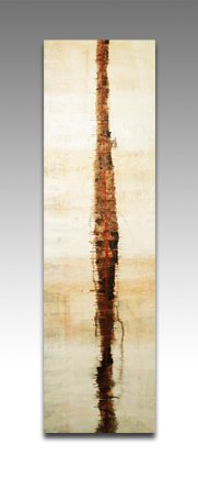 """Fragile Tower - Marco Sivieri mixed media abstract painting on canvas, 39"""" x 11.7"""" x 0.7"""", 2009"""