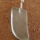 GENUINE FROSTED WHITE SEA GLASS & WIRE HANDMADE PENDANT