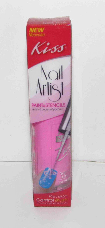Kiss Colors Nail Polish - Soft Pink with Nail Art Brush and Decals NEW