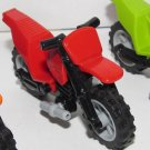LEGO Red Motorcycle Dirt Bike with Black Chassis and Light Bluish Gray Wheels