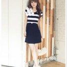 D1006 striped flower dress