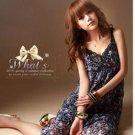 D1012 Korean version of the V-neck floral dress