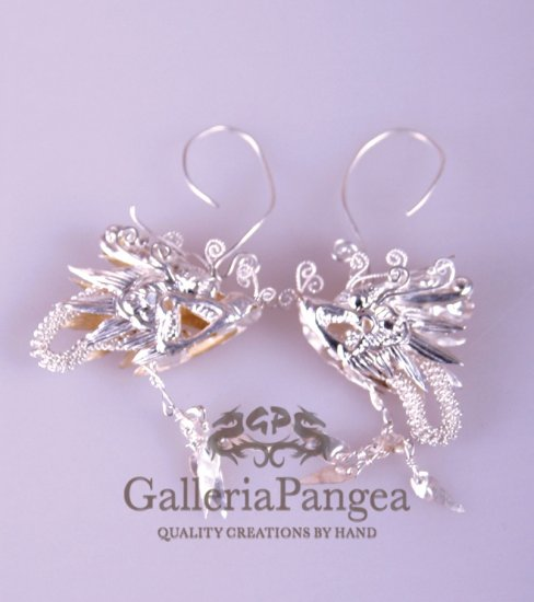 Pure Silver Earrings, 'Chinese Dragon'