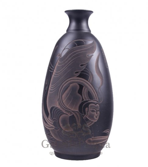 Black Pottery Vase, 'Flying Goddess'