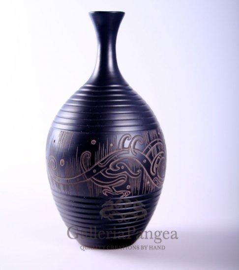 Black Pottery Vase, 'Flying Drgaon'