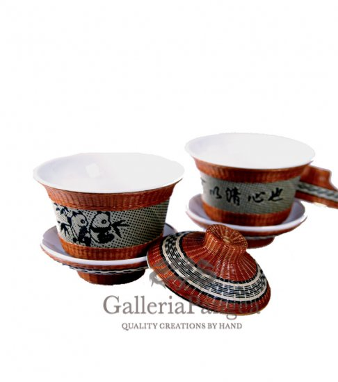 Bamboo Porcelain, 'Tea Cup of Tranquility' (single set)