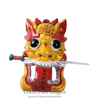 Wooden Nuo Mask, 'Tiger Gate Guardian'