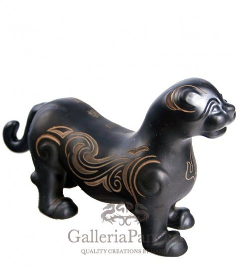 Black Pottery Statue, 'Tiger Seal'