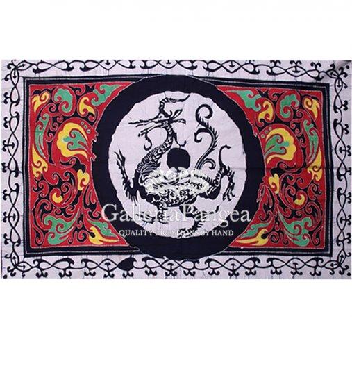 Batik Painting, 'Blue Dragon Table Cloth'