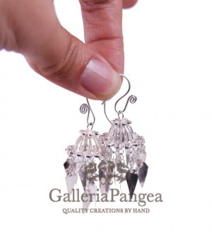 Silver Earrings, 'Lantern'