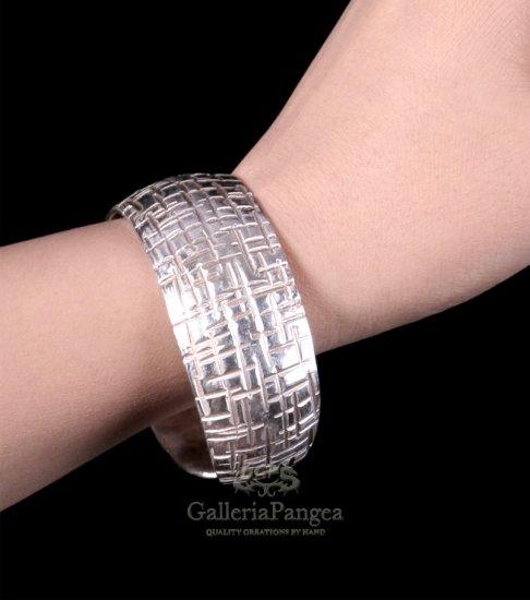 Pure Silver Bracelet, 'Crossing'