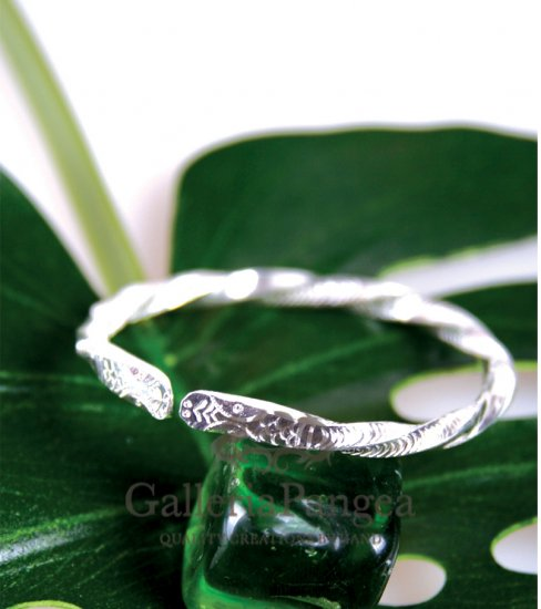 Silver Bracelet, 'Snake Charm'