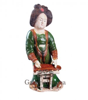 Pottery Statue, 'Tang Lady Playing Guqin'