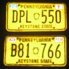 2- 80's Pennsylvania PA License Plates Yellow Temporary