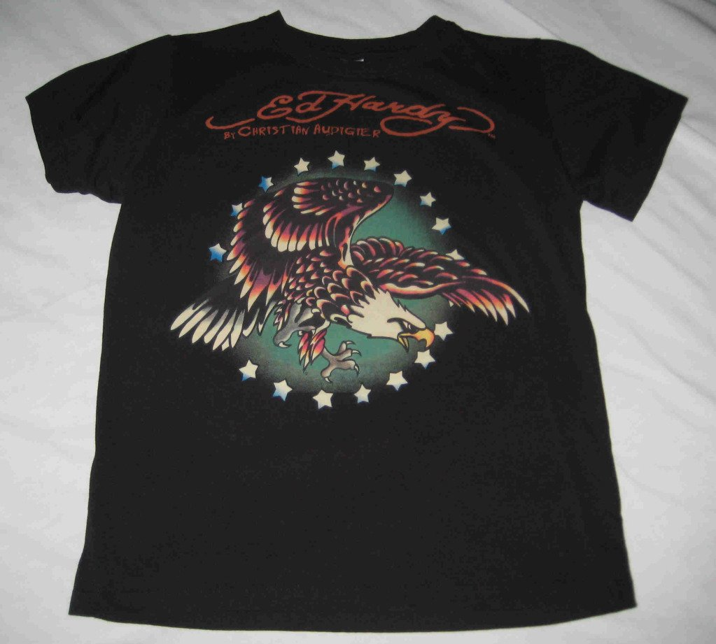ED HARDY Audigier YOUTH Large T-Shirt Diving Eagle Picture