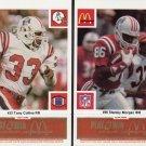 1986 McDonald's Patriots Gold Tab #86 Stanley Morgan & #33 Tony Collins