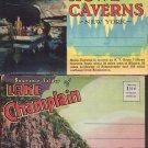 4- Vintage Souvenir Postcard Folders Howe Caverns, Lake Champlain, Thousand Islands, St Augustine