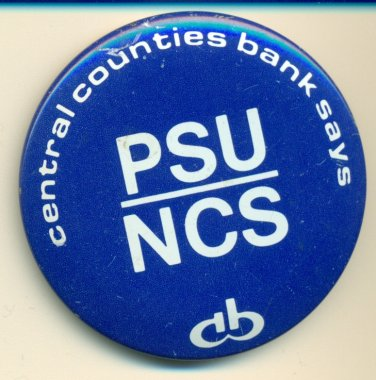 Penn State 1980 PSU/NCS CCB Button Central Counties Bank pin