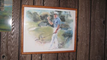 Gary Player Framed Golf Painting © 1989 A Classic in Sports by Ann Manry Kenyon