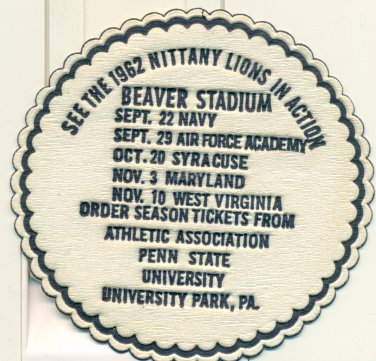 1962 Penn State Nittany Lions football Coaster Schedule Rip Engle #9 Ranked