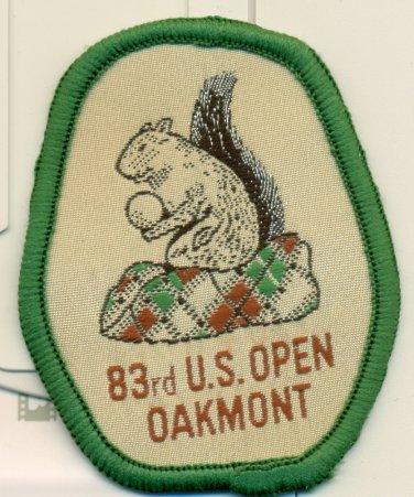 1983 U.S. Open Golf Championship Felt Patch Oakmont, PA Larry Nelson Squirrel