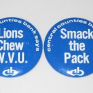 2 1975 Penn State Football Bank Buttons CCB Central Counties Bank WVU Gold Back
