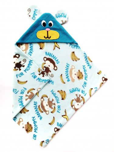 Baby Blanket Sewing Pattern, Monkey Hoodie Blanket