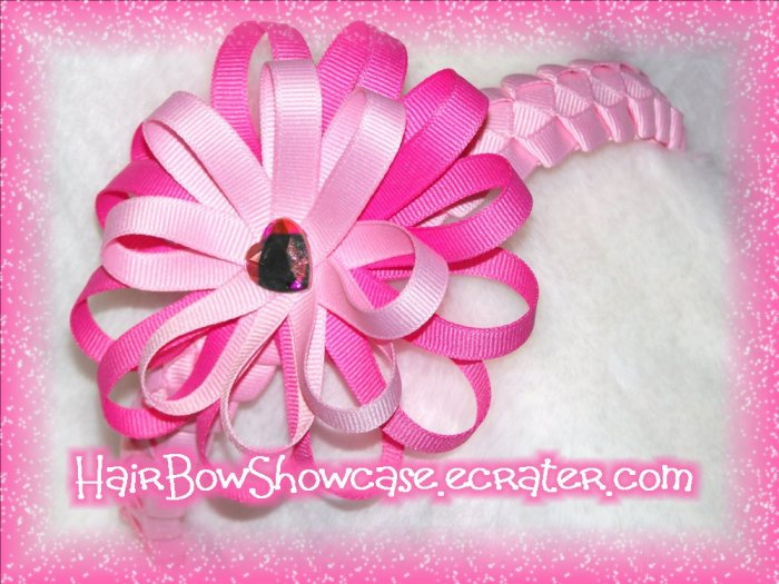Light Pink Braided Ribbon Headband with A Detachable Boutique Flower Loop Hair Bow Clip