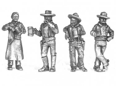 O On30 Saloon Bartender and 3 Cowboys 1/48 scale Western Rails