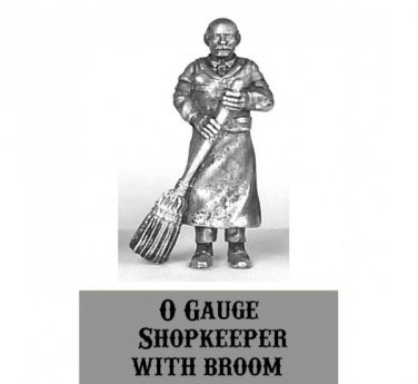 O scale Shopkeeper with Broom 1/48 Pewter Western Rails