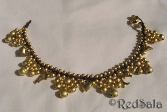 New Handmade Craft ANKLET Brass Bells Hearts Dolphins