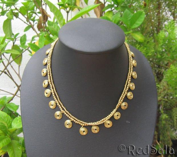 Handmade Boho Thai Craft NECKLACE Brass Beads Spirals