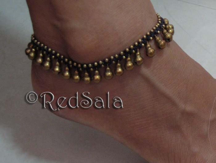 Handmade Thai Anklet Ankle Bracelet Brass Jingle Bells