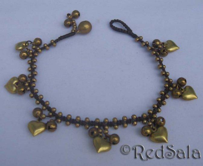 Handmade Thai ANKLET Ankle Bracelet Brass Bells Hearts