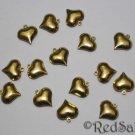 15 New Brass Bead Hearts Craft Bracelet Jewelry Making