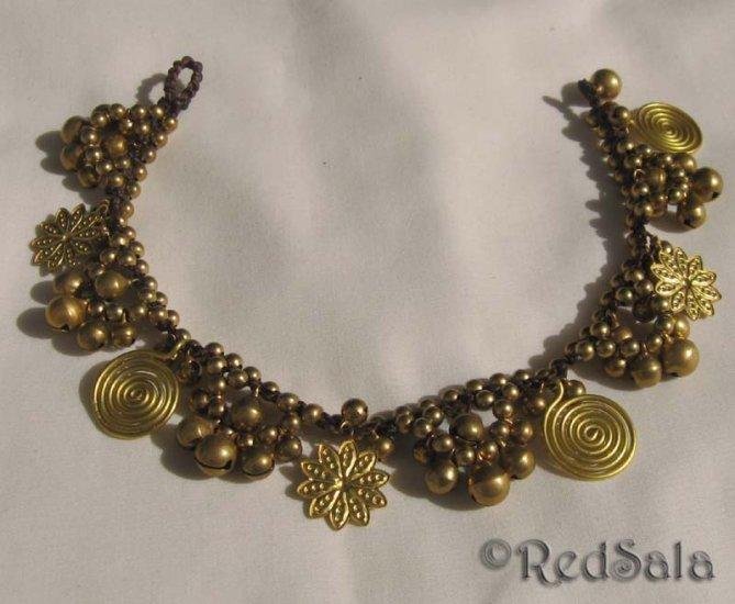 New Handmade Craft ANKLET Brass Bells Spirals Flowers