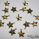 15 Brass Bead Stars New 1.5 cm Craft Jewelry Making