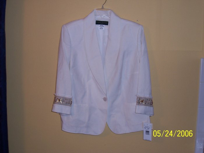 WOMEN'S LINEN BLAZER by HARVE BENARD, RET. $142, SZ 16W; SAVE 60%!