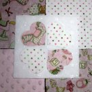"PINK SUGAR BISCUIT ~ Minky Applique Rag Quilt Kit 90 6"" Sqs  With Instructions"