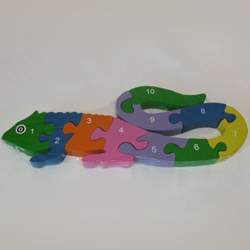 Wooden Lizard Puzzle - Alphabet and Numbers - 10 piece