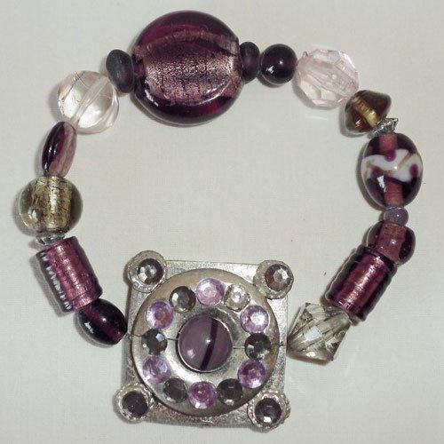 Purple Glass Murano Bead Bracelet - Stretchable