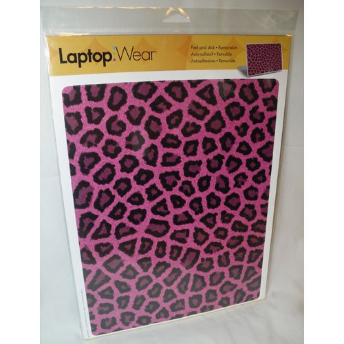 RoomMates Laptop Wear - Pink Fur Leopard - Peel and Stick Protective Notebook Skin Cover