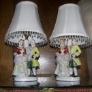 Occupied Japan Hand-Painted Porcelain Colonial Figural Lamps
