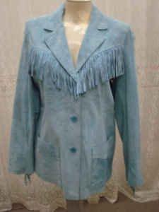 Very Stylish Ladies Butter Soft-Light Blue Suede Denim & Co. Fringe Jacket-Med-NEW-Laylas Price:$39