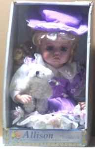 Beautiful Limited Edition w/COA-Victorian Dressed Porcelain Doll & Bear -New-Layla's Price:$22