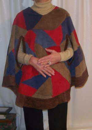 Vintage Swingin'100% Suede Colorful Patchwork Poncho/Cape-Fashion Must Have!-Layla's Price$29