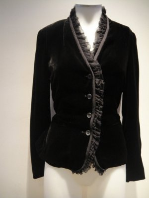DKNY Black Velvet Organdy Silk Ruffle Jacket New With Tags MSRP:$395-Layla's Price:$59.00-Size:6
