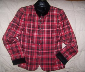 $548 New with Tags Gorgeous ELLEN TRACY Red 100% Wool Plaid Blazer-Satin Lined Sz 6-Laylas Price:$49