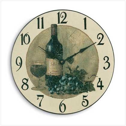 Wine and Grapes Wall Clock